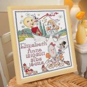 BUCILLA 46375 Mary Engelbreit Classic Mother Goose Birth Record Counted Cross Stitch Kit, 25cm /33cm