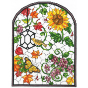 Imaginating Autumn Stained Glass Counted Cross Stitch Kit 25cm x 34cm 14 Count