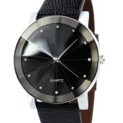 Wensltd Sport Military Stainless Steel Dial Leather Band Wrist Watch