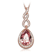 """LadyColour """"Intoxicating Love"""" Teardrop Pendant Necklace Made with Crystals"""