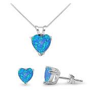 Blue Lab Opal Sterling Silver Heart Necklace & Earrings Set