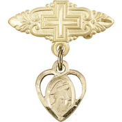 Gold Filled Baby Badge with Guardian Angel Charm and Badge Pin with Cross 2.2cm X 1.9cm
