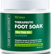 Foot Soak with Tea Tree Oil - 590ml Tea Tree Essential Oil Foot Bath Fights Fungus & Bacteria,Soothes Aches & Pains & Helps Soften Corns & Calluses - Foot Soak with Pure Dead Sea Salt & Essential Oils