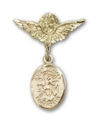 ReligiousObsession's Gold Filled Baby Badge with St. Michael the Archangel Charm and Angel with Wings Badge Pin