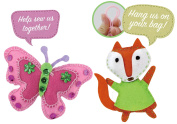 Butterfly and Fox Pendant Sewing Pattern Kit for Kids - Starter pack with all parts and accessories included - Sewing Project Set - Educational Fun
