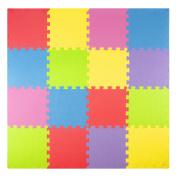 Foam Play Mats (16 Tiles + Borders) Kids Puzzle Playmat Tiles | Non-Toxic Interlocking Floor Children & Baby Room Soft EVA Thick Colour Flooring Square Rubber Babies Toddler Infant Exercise Area Carpet