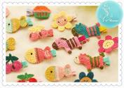 Rimobul 15 PCS Handmade Crocheted Animal Theme Mini Hair Clips for Kids