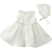 Sequins Belt Lace Satin Ivory Baby Girl 1st Birthday Dress with Bonnet 1509 6-12