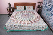 Cotton 100 % Traditional Indian Floral Ombred Bed sheet pillowcase Bed cover
