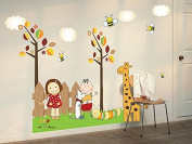 Trees Bees Giraffe Caterpillar Wall Sticker House Decal Removable Living Room Wallpaper Bedroom Kitchen Art Picture PVC Murals Sticks Window Door Decoration + 3D Frog Car Sticker Gift