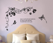 Black Flowes Vines Butterflies Wall Sticker House Decal Removable Living Room Wallpaper Bedroom Kitchen Art Picture PVC Murals Sticks Window Door Decoration + 3D Frog Car Sticker Gift