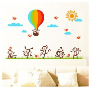 Air Balloon Monkeys Birds Wall Sticker House Decal Removable Living Room Wallpaper Bedroom Kitchen Art Picture PVC Murals Sticks Window Door Decoration + 3D Frog Car Sticker Gift