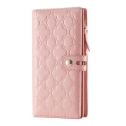 Contacts Women's Genuine Leather Long Wallet Cell Phone Holder Embossed Purse Pink