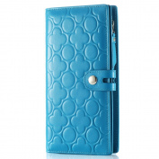 Contacts Women's Genuine Leather Long Wallet Clutch Cell Phone Holder Embossed Purse Sea Blue