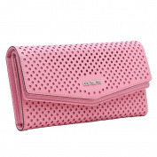Contacts Women's Genuine Leather Hollow Trifold Snap Wallet Clutch Bag Pink