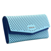 Contacts Women's Genuine Leather Hollow Trifold Snap Wallet Clutch Bag Blue