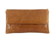 Fine Compact Size Real Leather Clutch Bag/Shoulder Bag Wedding/Occasion Bag In Tan