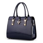 Hattie Women's Vintage Crocodile Skin Patent Leather Handbag Metal Decor Tote Bag Navy