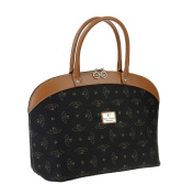 Walter Valentino - Made in Italy Exclusive Shopping Bag with Printed Logo 43x28x18 cm black/cognac, W5401