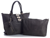 Big Handbag Shop Womens Faux Leather 3 in 1 Handbag with Make up Purse