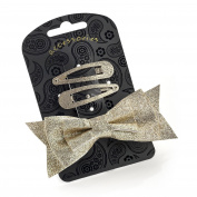 Three Piece Glitter Snap Clip & Bow Clip Set Gold