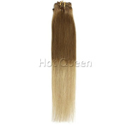 Hot Queen 7A Grade Blonde Brazilian Straight Ombre Clip In Human Hair Extensions Light Golden Brown To Ash T10/22