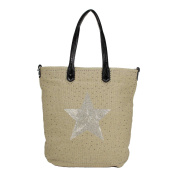 Rose Red - Stella Due - XL Shopper Bag Canvas with Glittery Star Diamond Bling Hard Gem Case Cover