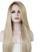 Tsnomore Long Straight Omber Heat Resistant Woman Front Lace Wig