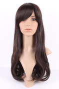 S-noilite® Beauty Women's Long Wigs Straight Kanekalon Hair Wavy Tail Dark Brown Full Wig Daily Party Cosplay + Free Wig Cap