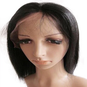 Drasawee Short 25cm Full Lace Wigs 100% Indian Remy Human Hair Yaki Straight Wigs Natural Black