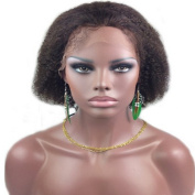 Drasawee 20cm Afro Curly Lace Front Wig 100% Indian Remy Human Hair Short Lace Wigs 2# Dark Brown
