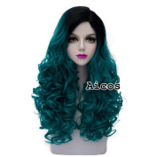 Aicos®Lolita Turquoise Green Mixed Black Long 60CM Curly Fashion Cosplay Wig + Wig Cap