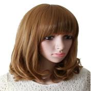 Drasawee Women Medium Length Bob Curly Hair Charming Party Costume Full Wigs 3#