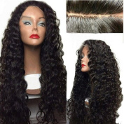 Drasawee Excellent Brazilian Natural Wavy 100% Indian Remy Human Hair Long Full Lace Wigs 1b# 36cm