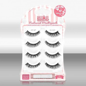 Blinque Premium Multipack (4+1) 100% Human Hair False Eyelashes 4 Pairs & Adhesive Glue, Style #E-107
