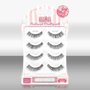 Blinque Premium Multipack (4+1) 100% Human Hair False Eyelashes 4 Pairs & Adhesive Glue, Style #E-100