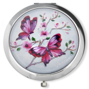 Vanroe 'Pink Butterfly' Designer Compact Mirror in Gift Box - Bridesmaid Idea, Magnified, Engravable