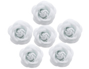 BONAMART ® 6 pcs Woman Lady Girl Brooch Corsage Hair Clips Accessories Camellia Flower For Wedding Party White