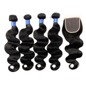YanT HAIR 8A Grade Brazilian Virgin Hair Deep Wave Human Hair Weave 4 Bundles 12 12 14 36cm with 1 Piece 30cm Free Part Lace Closure Natural Colour Pack of 4