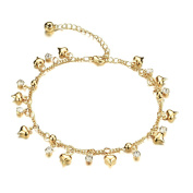 Fate Love Women's Crystal Small Bell Anklet 18k Gold Plated Foot Chain Adjustable Fit 20cm - 26cm