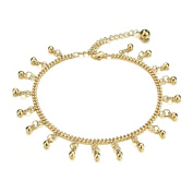Fate Love Women's Sexy Small Bells Anklet 18k Gold Plated Curb Foot Chain Adjustable Fit 20cm - 26cm