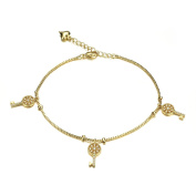 Fate Love 18K Gold Plated Key Foot Chain Anklet Inlay Zirconia Bracelet Barefoot Sandal Beach Foot Jewellery