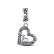 TinySand 925 Sterling Silver Family Love Charm Pendant With Shiny Crystals Fits For Pandora Style Charms Bracelets