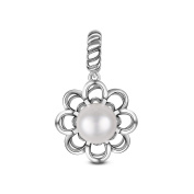 TinySand 925 Sterling Silver Flower Charm With A Shiny Pearl Fits For Pandora Style Charms Bracelets