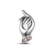 Tinysand 925 Sterling Silver Hold The Hands Love Charms Fit For Pandora Style Charm Bracelet