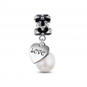 Tinysand 925 Sterling Silver Daisy Pearl Dangle Pendants Charms Fit For Pandora Style Charm Bracelet And Necklace