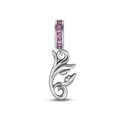 Tinysand 925 Sterling Silver Mom and Baby on a Flower Charms Fit For Pandora Style Charm Bracelet
