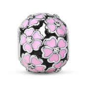 TinySand 925 Sterling Silver Pink Primrose Meadow Charm Fits For Pandora Style Charms Bracelets