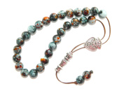 A1-0896 - Prayer Beads Worry Beads Tasbih Mottled Glass Beads Handmade by Jeannieparnell