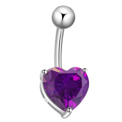 Contever® Aurification Steel Double Ball Belly Ring Love Heart . Crystals Rhinestone Navel Bar -- Purple